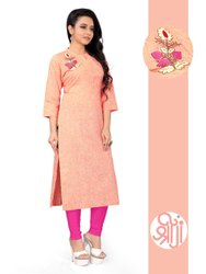 Shreeji Casual Wear Ladies Round Neck Cotton Kurti, Size: L