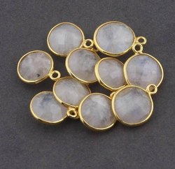 Rainbow Moonstone Gemstone Gold Plating Connector