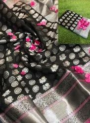 Black Non Catalog Silk Sarees for Wedding, Packaging Type: International Box