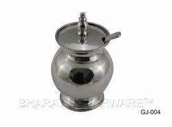 Pure Silver Designer Ghee Jar With Spoon