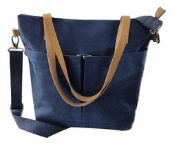 Casual Wear Dark Blue Waxed Canvas and Genuine Leather Tote Bag
