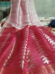 Party Wear Linen Silk Sarees, 6.3 m With Blouse Piece