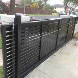 Plain Design Black Sliding Gates, For Industrial