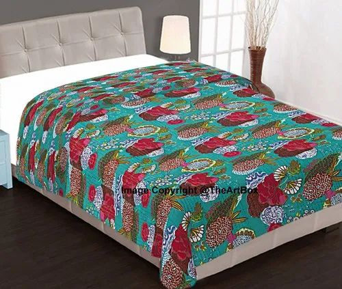 Indian Handmade Blue Fruit Kantha Quilt Queen Size Bedspread Throw Cotton Gudari