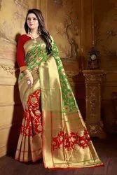 Wedding Banarasi Silk Saree 6.3 m with Blouse Piece