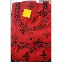 Red Casual Wear Round Neck Cotton Kurti