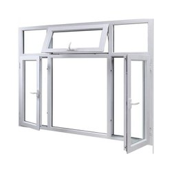 White UPVC Combination Window, Thickness Of Glass: 5-6 Mm