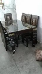 Six Seater Dining Set With Glass Top
