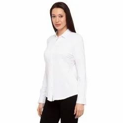 Plain Ladies White Cotton Shirt HSN Code 621142, Formal