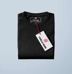 Cotton S Mens Black T Shirt
