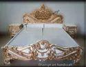 Golden Wooden Carved Bed Italian Design, Size: 6ft X 6.5ft