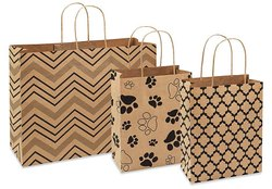Brown Printed Paper Bag, For Shopping, Capacity: 5kg