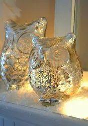 Antique Silver Glass Christmas Owl