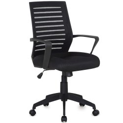 Black Polyester Movable Fabric Office Chair