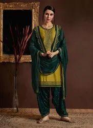 Cotton Satin Ready Made Punjabi Suits