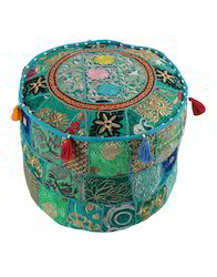 Hand Made Turquoise Patchwork & Embroidered Boho Floral Cotton Pouf with Tussles