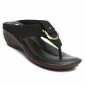 Women Togo Black Sandal, Size: 4 To 8