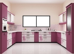 U Shaped Printed Modular Kitchen
