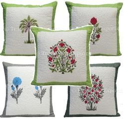 Indian Block Print Quilted Pillow Cover