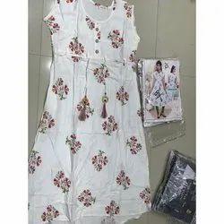 Casual Wear Sleeveless White Floral Print Rayon Kurti, Handwash