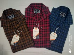 Casual Wear Checks Mens Check Cotton Shirt, Packaging Type: Packet, Size: M-xxl