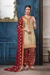 Multicolor Party Wear Cotton Embroidery Patiala Salwar Kameez