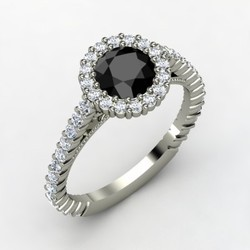 Round Cut Black Diamond Wedding Ring
