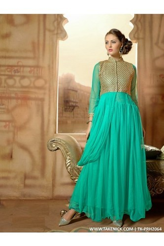A Line Flared Indian Prom Dresses Evening Sky Blue Gown Of Net, Size ...