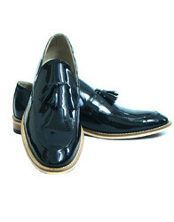 ASM Handmade Black Patent Leather Slip on Tussle Shoes