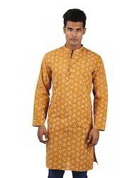 Cotton Mustard Yellow Floral Printed Full Sleeves Men's Wear Above Knee Length Kurta