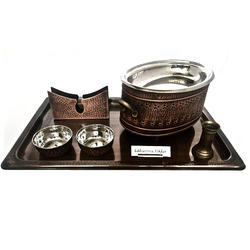 Smokey Finished Copper Hammered Snacks Set