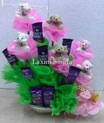 Designer Teddy And Chocolate Bouquet