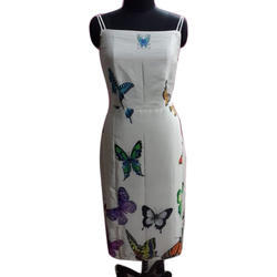 Party Wear Sleeveless Long Butterfly Printed Dress