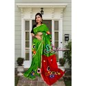 Inkreation Ladies Cotton Green Printed Saree With Blouse Piece