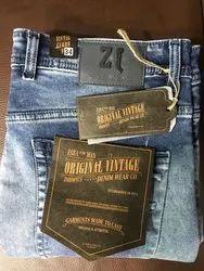 Blue Plain Men Denim Slim Fit Jeans, Waist Size: 28 - 36