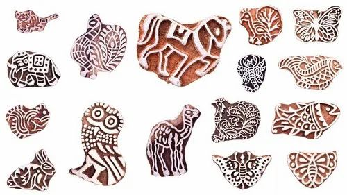 Decorative Indian Hand Carved Animals Shaped Wood Block Printing Stamp