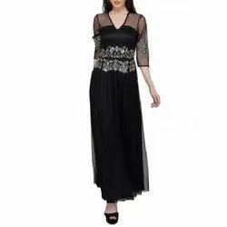 Party Western Silver And Black Tulle Beaded Designer Gown