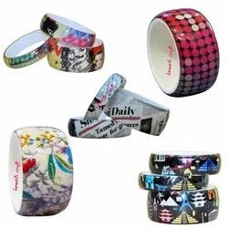 Fabric Insert Paper Insert - Lamination Acrylic Resin Bangle