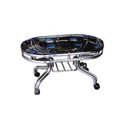 Silver And Black Stainless Steel SS Fancy Dining Table