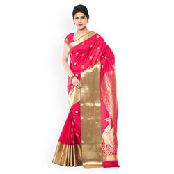 Pink And Golden Festive Wear Silk Ladies Saree, With Blouse Piece