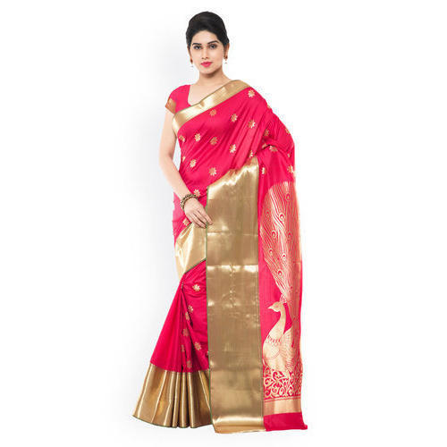 23374be8ec Pink And Golden Festive Wear Silk Ladies Saree, With Blouse Piece ...