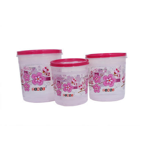 Plastic Round Printed Round Storage Container Set Rs 286 set ID