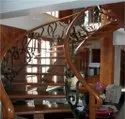 Stainless Steel With Wood Spiral Staircase Railing, Height:2-3 Feet