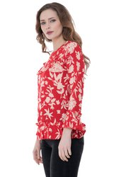 Red Cotton Rayan Full Sleeve Top