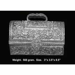 White Metal Jewelry Box with Handle