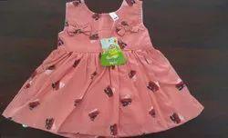 Peach Cotton Kids Designer Frock, 6 Months To 1.5 Yrs