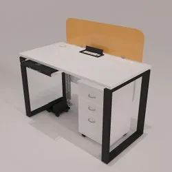Powder Coated Legs Frosty Whitetop Glass Screen Desking Oval Metal Leg One Seating