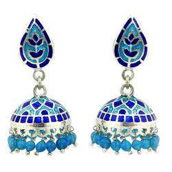 Exceptional 925 Sterling Silver Earring Enamel Jewelry