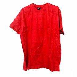 Red Cotton Round Neck Half Sleeve T Shirt, Size: Medium And XL