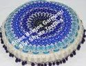Multicolor Cotton Round Embroidered Floor Cushion Pom Pom Floor Pillow